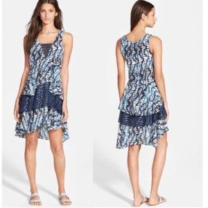 Amour Vert Fern Shibori Print Layered Blue Dress